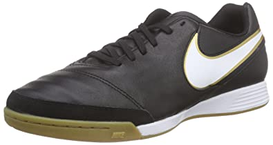 online store e0eed 72a37 NIKE Tiempo Genio II Leather IC Men s Black White-Metallic Gold Shoes - 7