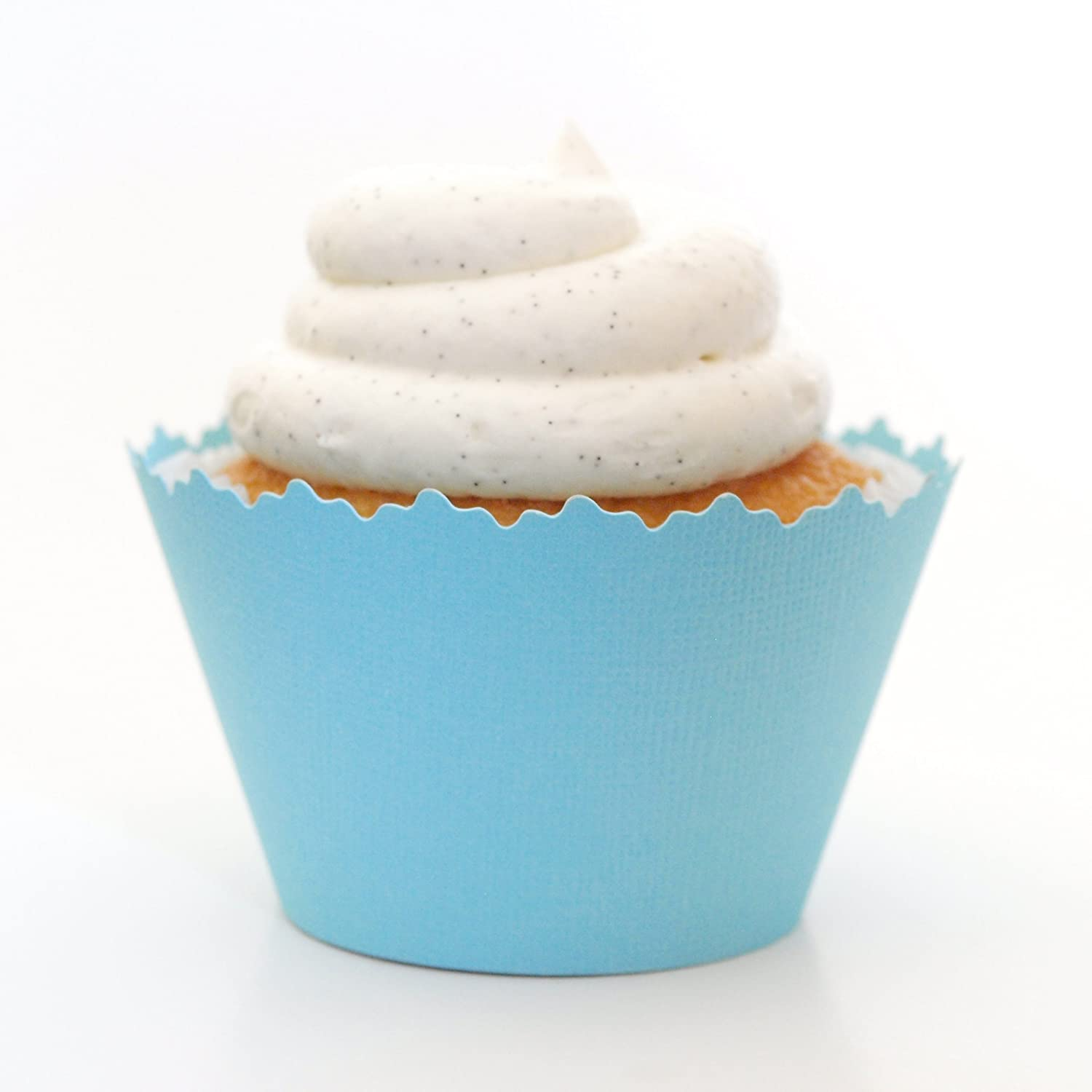 Cupcake Wrappers Solid Colors Adjustable Set Of 12 Light Blue