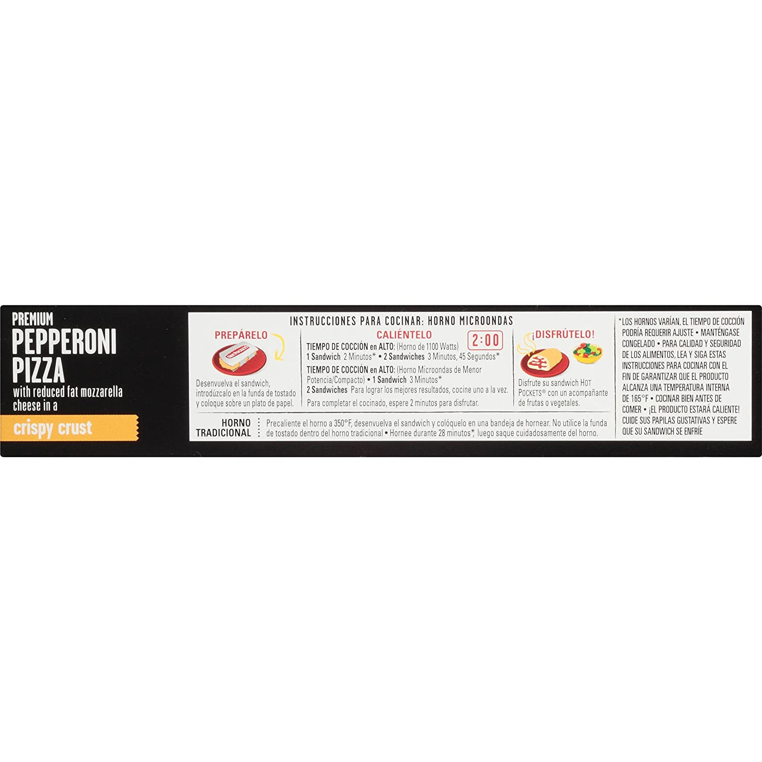 Hot Pockets, Crispy Crust Pepperoni Pizza, 2 sandwiches, 9 oz (Frozen): Amazon.com: Grocery & Gourmet Food