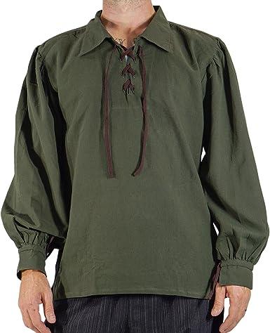 Disfraz de pirata para hombre Merchant para hombre, disfraz del Renacimiento, festival, steampunk, medieval, vikingo cosplay - Verde - 5X-Large: Amazon.es: Ropa y accesorios