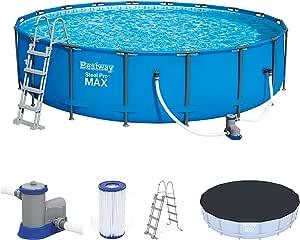 Bestway mit und Zubehör Steel ProMAX Pool Ø549x122 cm, Stahlrahmenpool-Set con Filterpumpe y Accesorios, Azul, 549 x 122 cm: Amazon.es: Juguetes y juegos