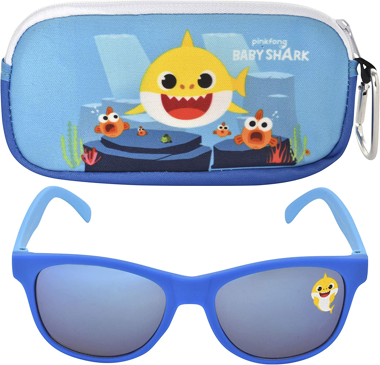 Baby Shark Kids Sunglasses with Kids Glasses Case, Protective Toddler Sunglasses