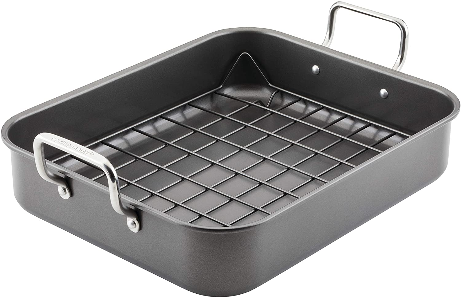 Rachael Ray Bakeware Nonstick Roaster/Roasting Pan with Reversible Rack, 13.5 Inch, Gray