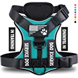 Demigreat Service Dog Harness, No-Pull Reflective Dog Vest Harness with 5 PCS Patches, Adjustable Soft Oxford Pet Harness, In