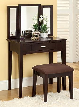 Amazon Com Furniture Of America Doris 2 Piece Vanity And Stool Set Espresso Furniture Decor