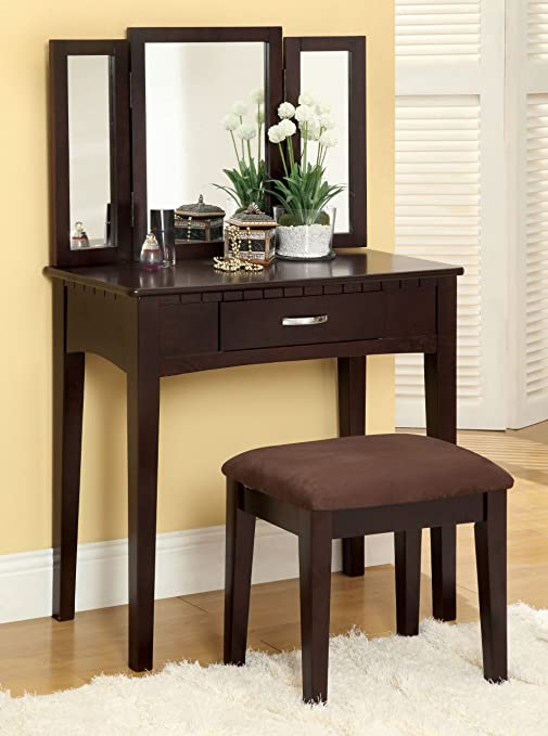 Peachy Furniture Of America Doris 2 Piece Vanity And Stool Set Espresso Ncnpc Chair Design For Home Ncnpcorg