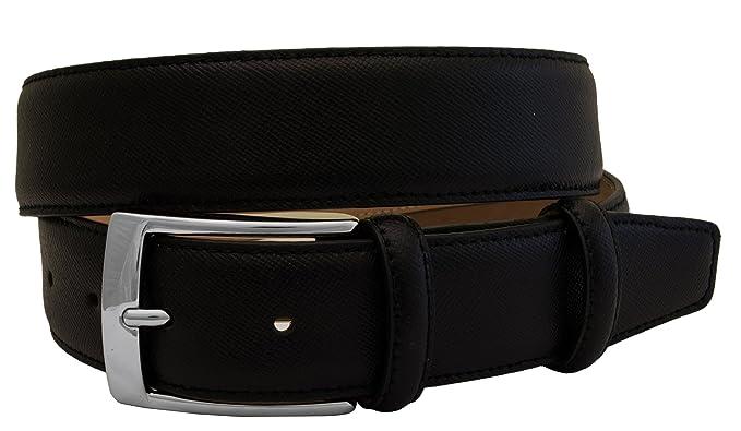 BRUCLE ceinture élegant homme en cuir Saffiano, noir  Amazon.fr ... 833a8afa084