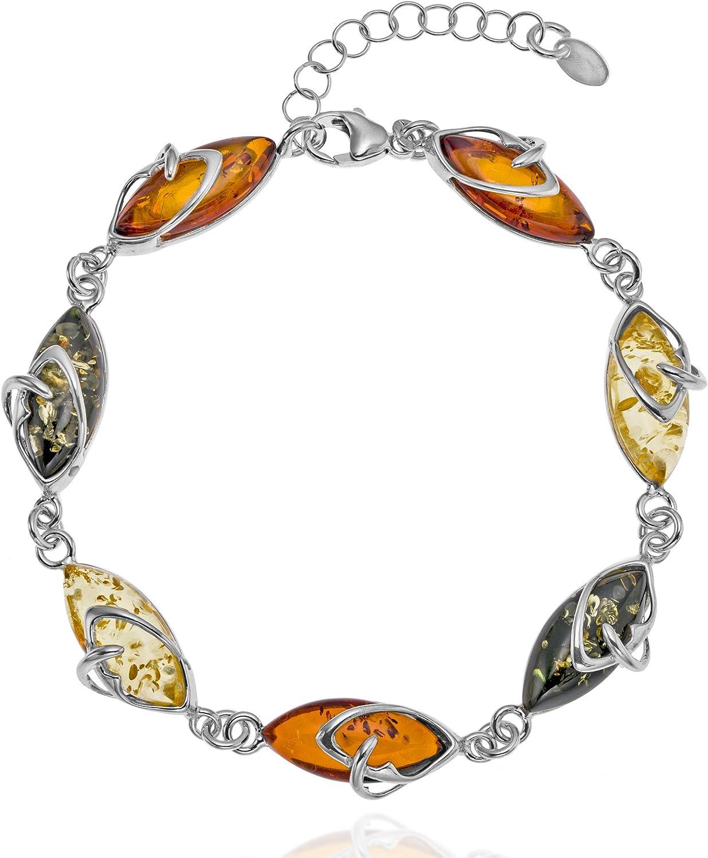 Copal - Pulsera para mujer de plata de ley 925 natural, multicolor, longitud ajustable, estuche de regalo para novia