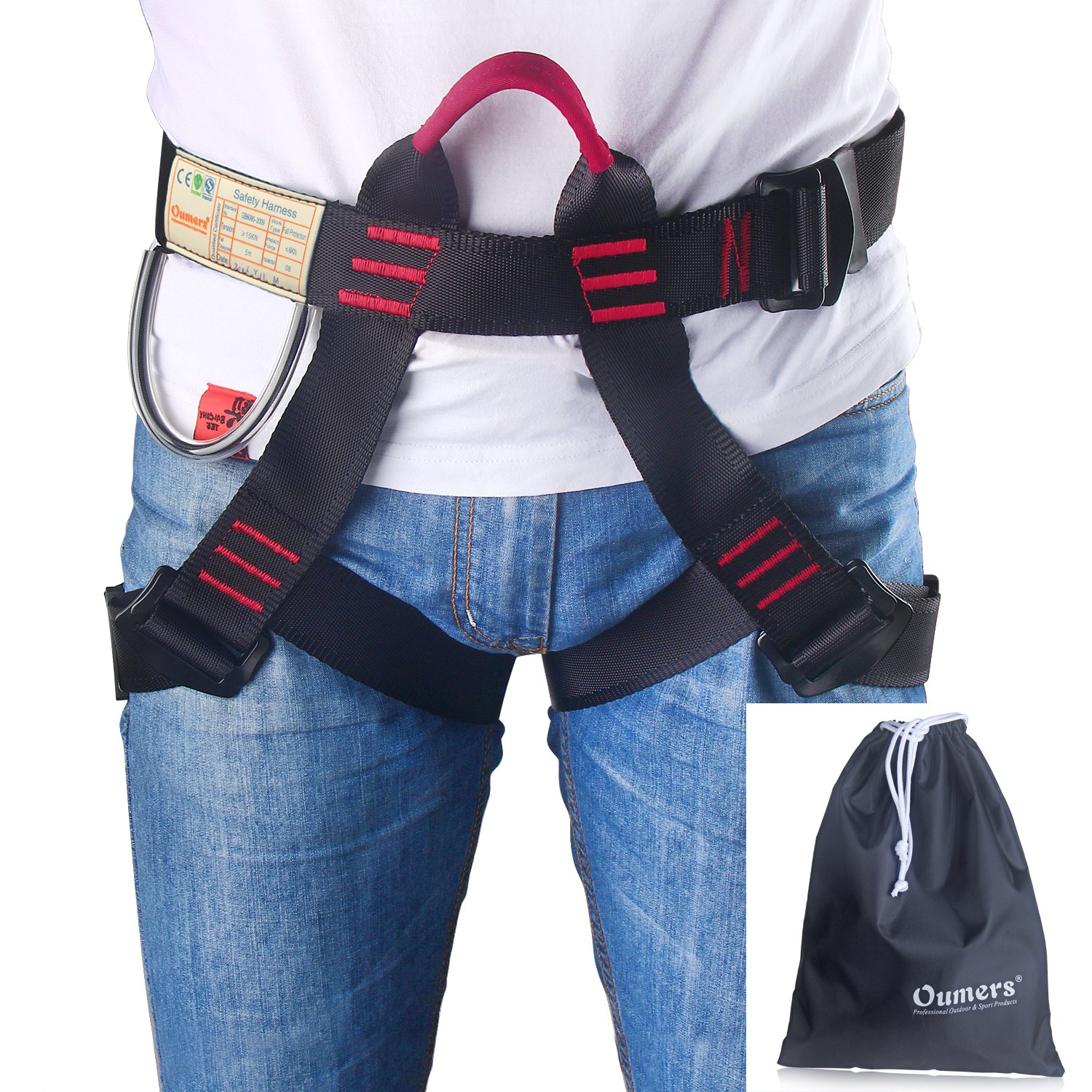 Oumers Climbing Harness, Safe Seat Belts For Mountaineering Outward Band Fire Rescue Working on the Higher Level Caving Rock Climbing Rappelling Equip, Women Man Child Half Body Guide Harness