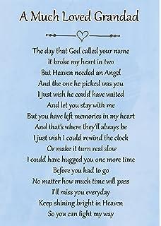 Happy Birthday Grandad Memorial Graveside Poem Keepsake Card