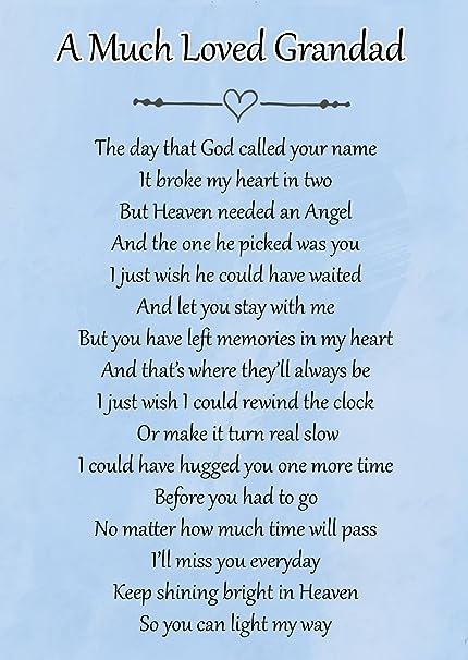 A Much Loved Grandad Memorial Graveside Poem Keepsake Card Includes