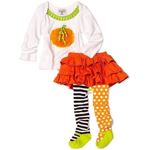 Mud Pie Baby Girls Pumpkin Skirt Set