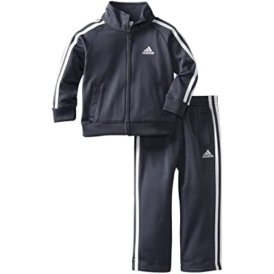 adidas Toddler Boys' Iconic Tricot Jacket and Pant Set, Grey, 3T