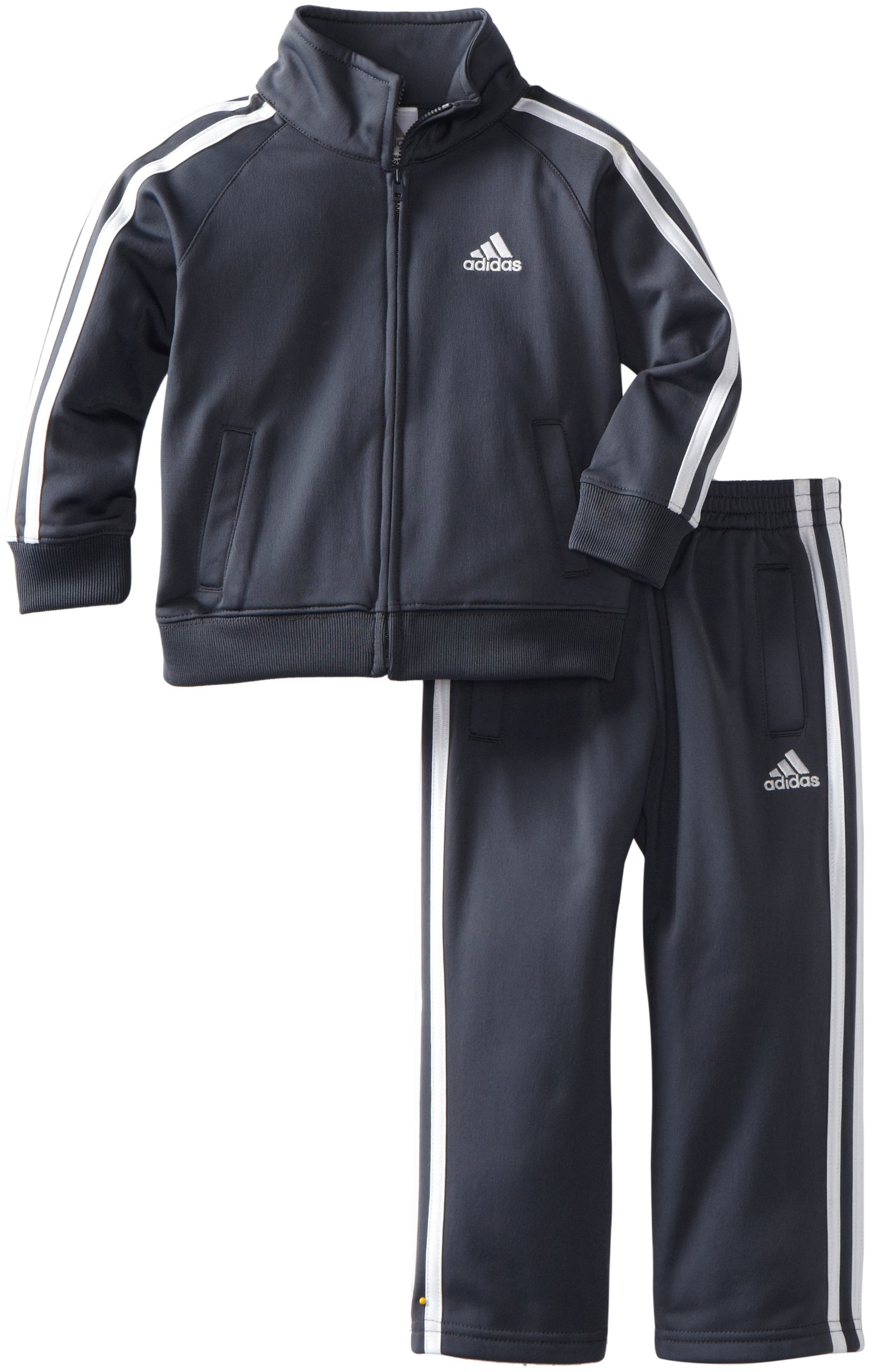 adidas Toddler Boys' Iconic Tricot Jacket and Pant Set, Grey, 4T by adidas