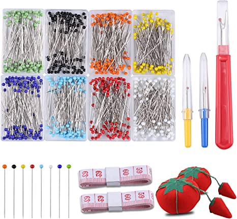 Perzodo 250 Pieces Sewing Pins with Color Glass Ball Head Pins Including Sewing Seam Ripper Pin Cushion and Soft Tape Measure for Dressmaking Jewelry Components Flower Decoration