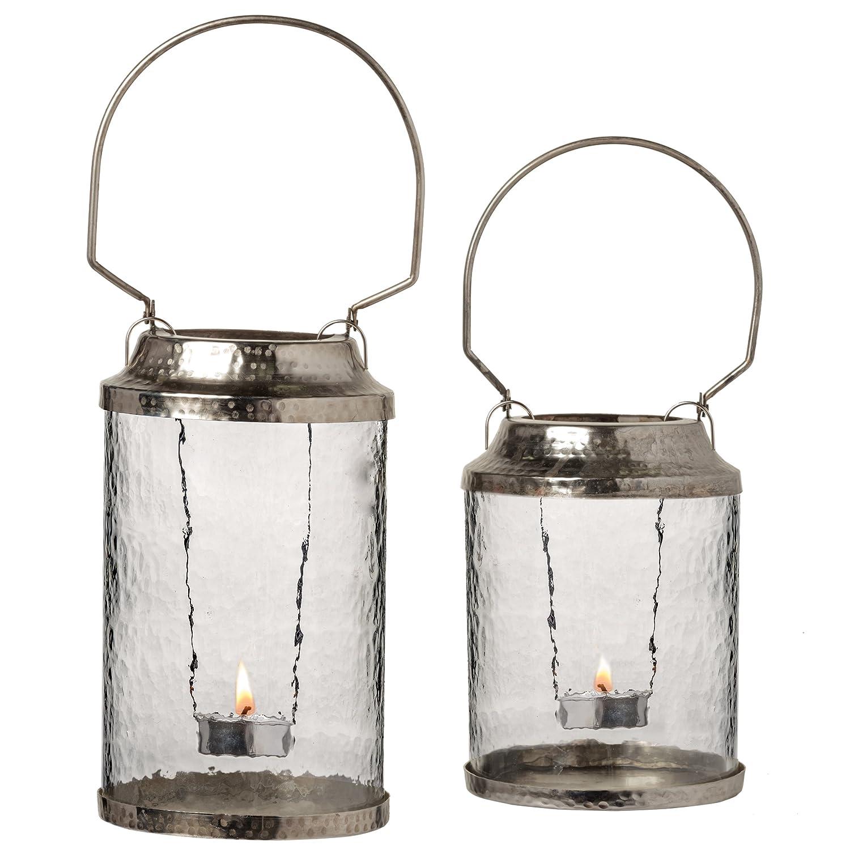 PRINZ Artisan Small Silver Metal and Glass Lantern