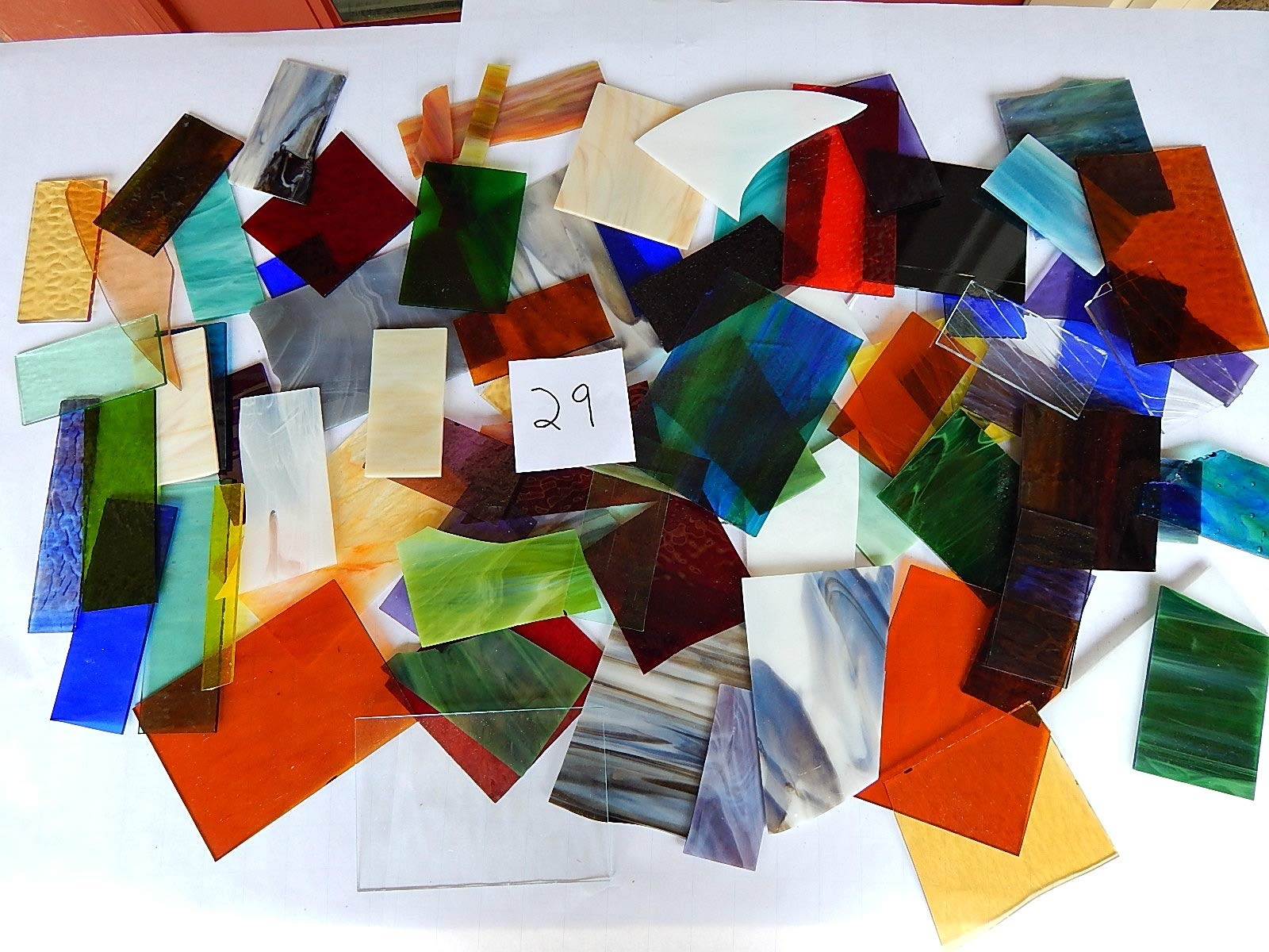 Over 10 LBS Larger Pieces Spectrum Wissmach Stained Glass Mosaic Scrap LOT#29