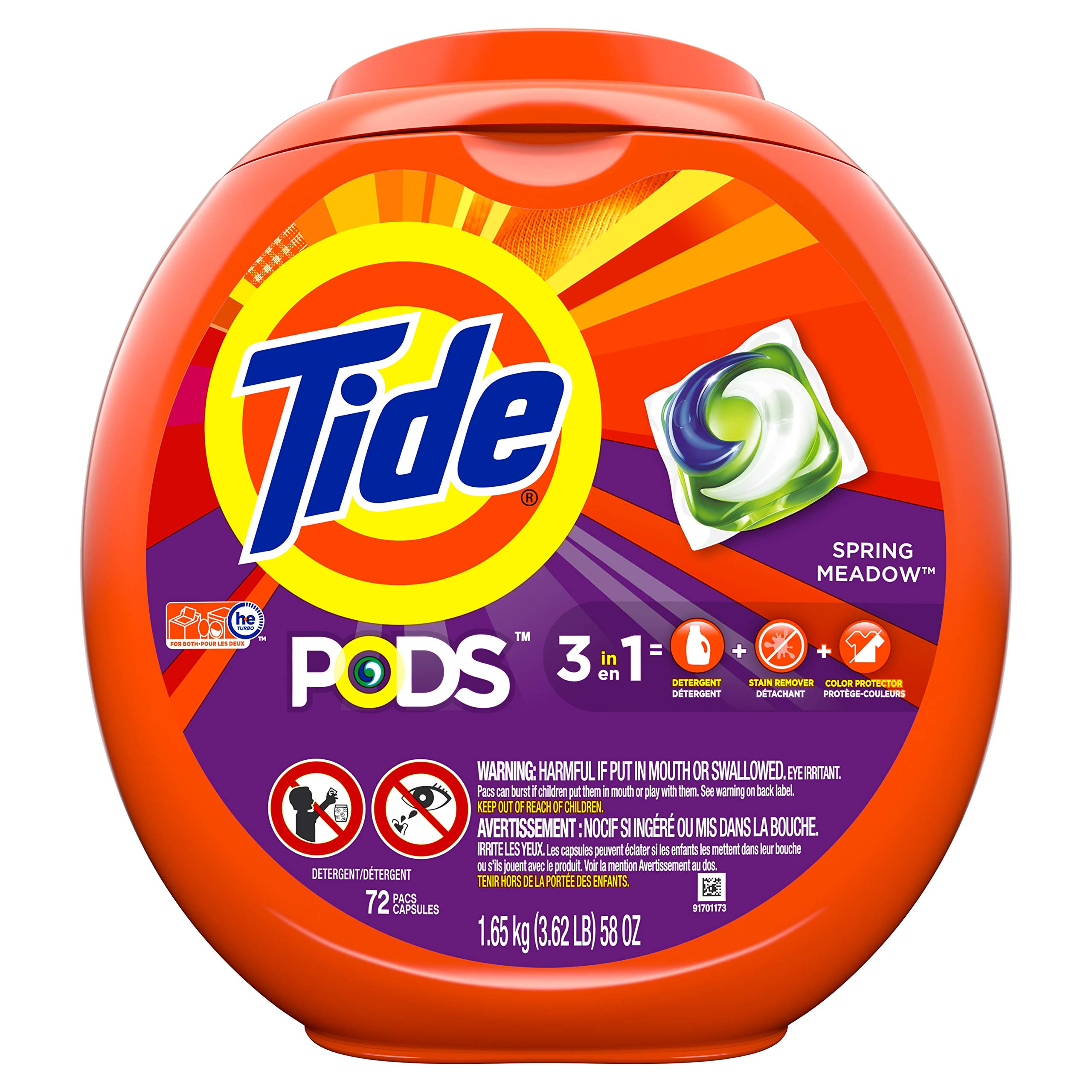 Tide PODS Liquid Laundry Detergent Pacs, Spring Meadow, 72 count product image