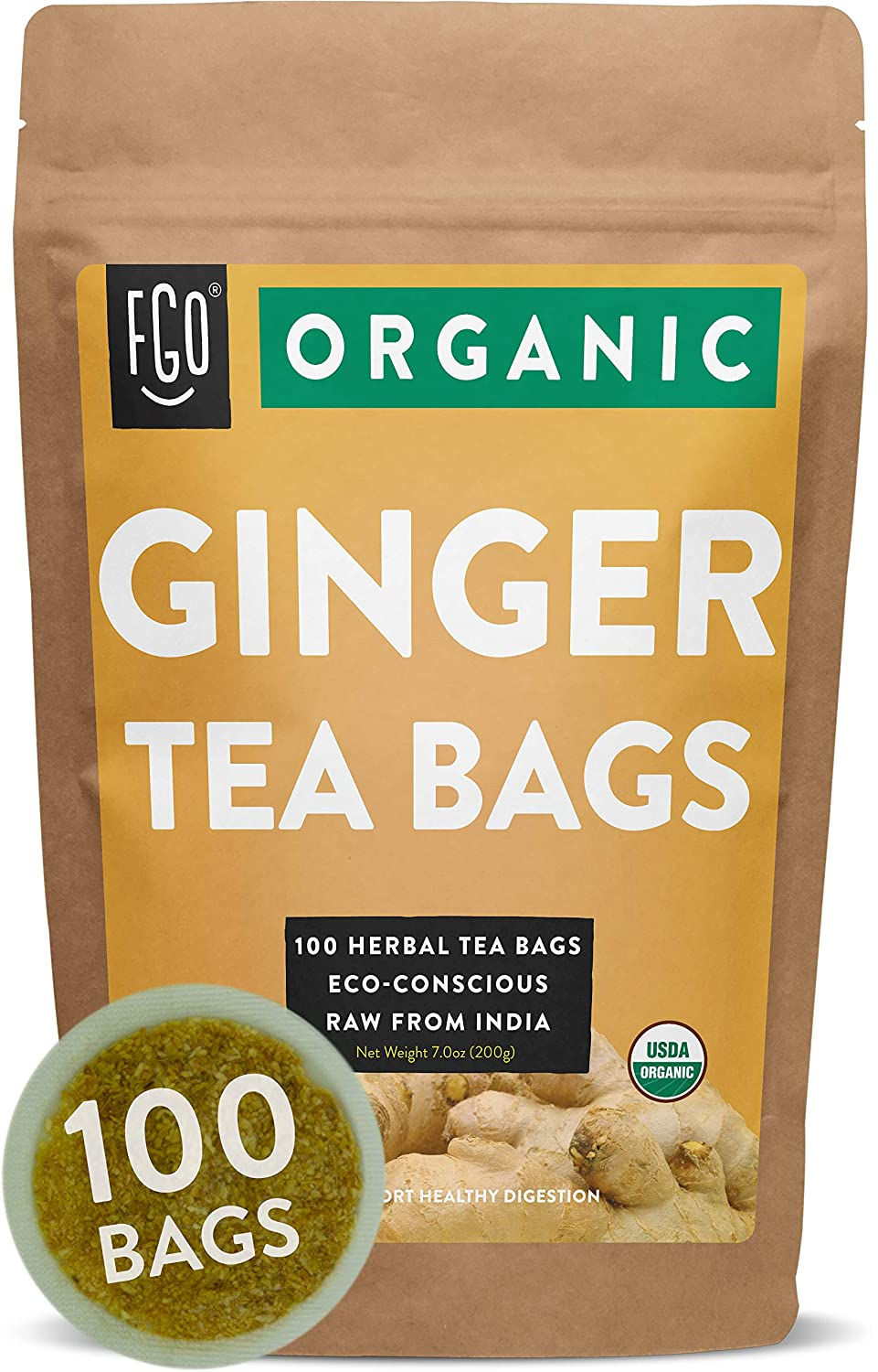 Organic Ginger Tea Bags | 100 Tea Bags | Eco-Conscious Tea Bags in Kraft Bag