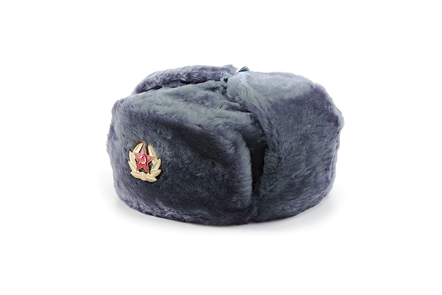Authentic Russian Ushanka Fur Hat – Soviet Army Heat Trapper Winter Hat –  Original Military USSR Ear Flap Winter Shapka With Removable Soviet Red  Star ... ecf02dac6f95