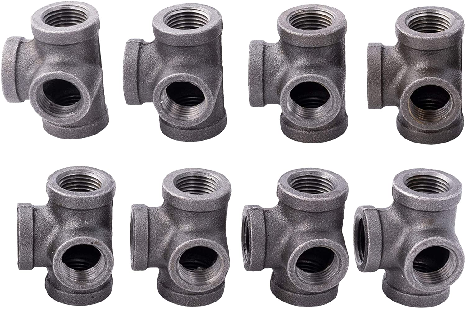 1/2 Inch Side Outlet Tee (4-Way) Industrial Cast Iron Pipe Fitting 8 Pack by Pipe Decor, Pipe Components For Building Tables, Chairs, Shelving, and Custom Furniture, Fits Half Inch Pipes, Eight Pack