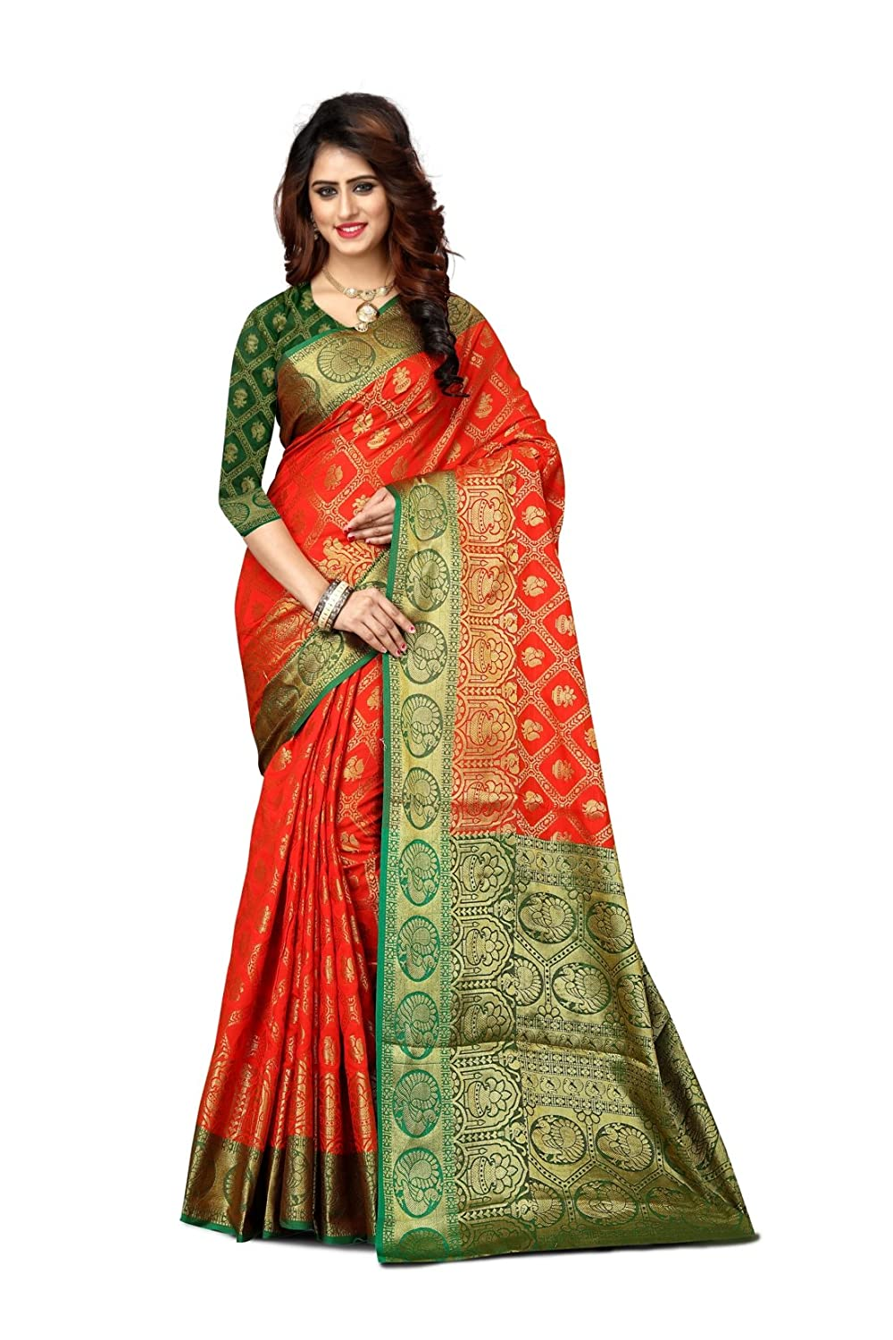F4style Women's Designer Banarasi Silk Saree with Unstitched Blouse Piece