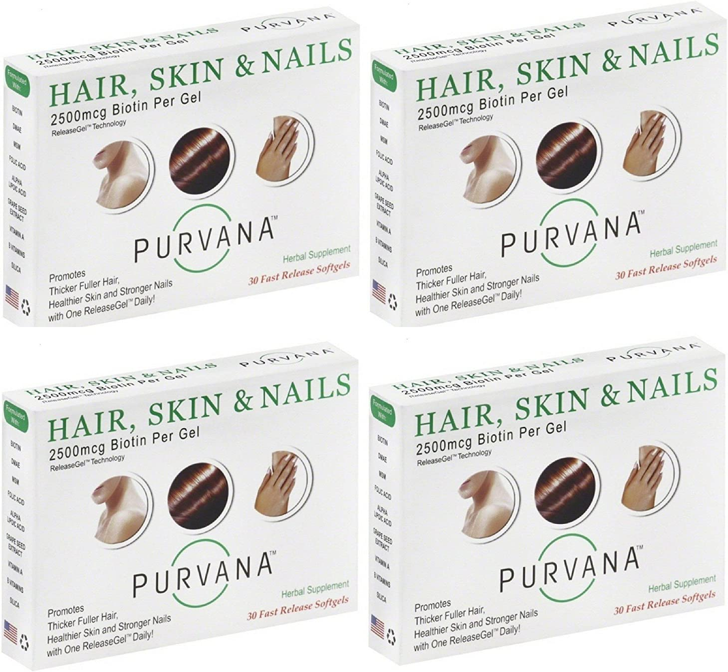 Purvana Hair, Skin Nails 30 Softgels – 4 Pack