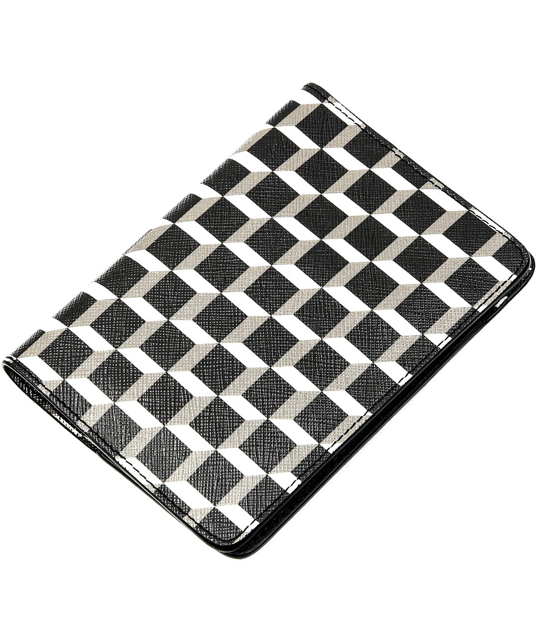 Wiberlux Pierre Hardy Women's Cube Pattern Real Leather Passport Cover One Size Black_White by Wiberlux