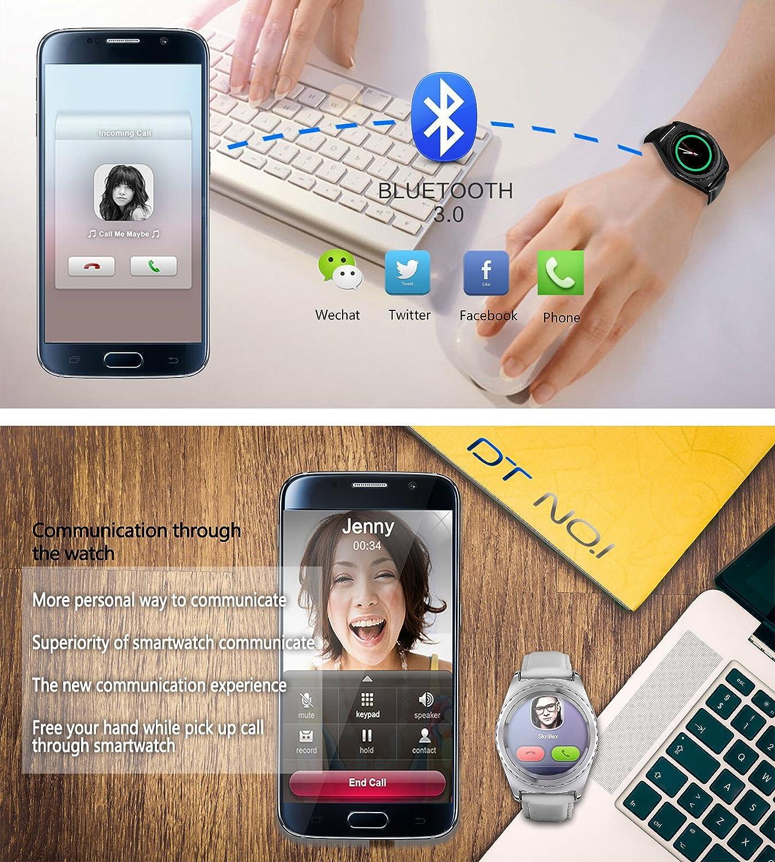 Jiazy Bluetooth SmartWatch teléfono reloj de pulsera con pantalla de monitor de ritmo cardíaco círculo completo de la tarjeta SIM TF Apoyo(Raya de ...