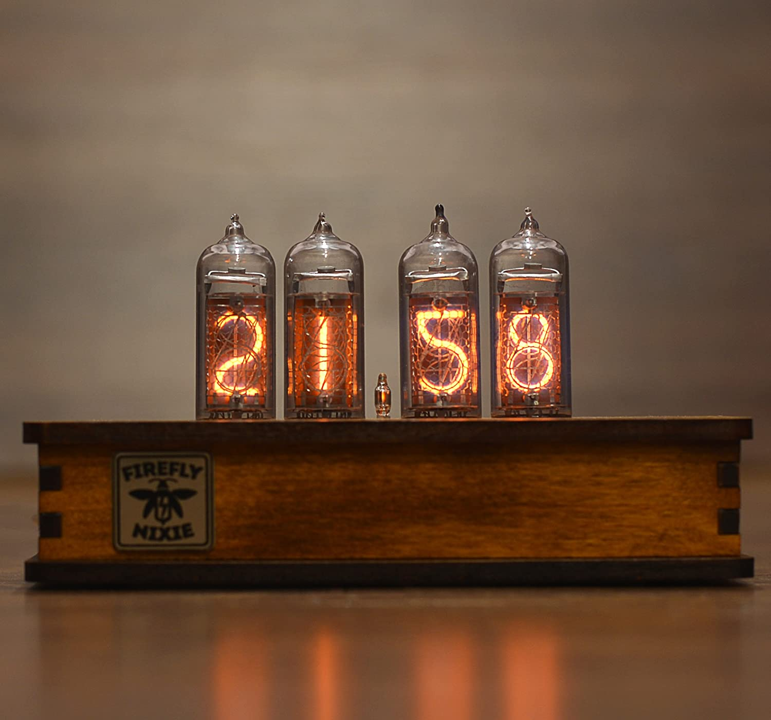nixie tube clock 4x in 14 nixie tubes vintage retro desk clock fully assembled and tested wooden alder case fireflyNixie Clock #2