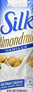 Silk Pure Almondmilk, Vanilla, 8 Ounce, 18 Count, Vanilla Flavored Non-Dairy Almond Milk, Individually Packaged, Dairy-free Milk