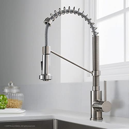 Kraus KPF-1610SS Bolden Single Handle 18-Inch Commercial Kitchen Faucet with Dual Function Pull Down Spray Head Finish Kpf-1610SS, Stainless Steel Renewed