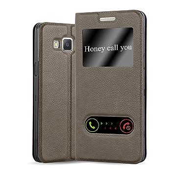 Cadorabo Funda Libro para Samsung Galaxy A3 2015 en MARRÓN Piedra - Cubierta Proteccíon con Cierre Magnético, Función de Suporte y 2 Ventanas- View ...