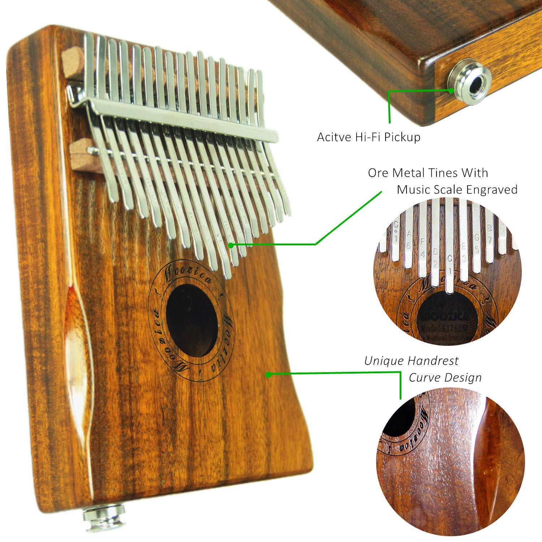 Moozica 17-Key EQ Kalimba, Koa Tone Wood Electric Finger Thumb Piano Built-in Pickup With 6.35mm Audio Interface and Professional Kalimba Bag by Moozica (Image #5)