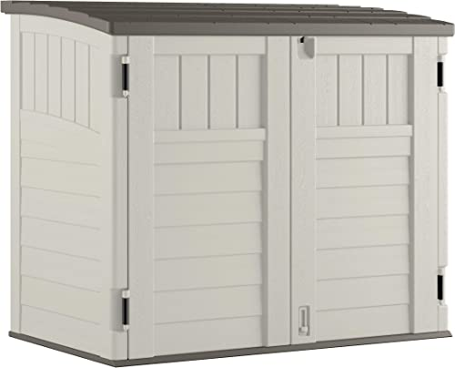 Suncast Horizontal Outdoor Storage Shed for Backyards and Patios 34 Cubic Feet Capacity for Garbage Cans, Tools and Garden Accessories, Vanilla
