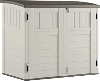 product image for Suncast Horizontal Outdoor Storage Shed for Backyards and Patios 34 Cubic Feet Capacity for Garbage Cans, Tools and Garden Accessories, Vanilla