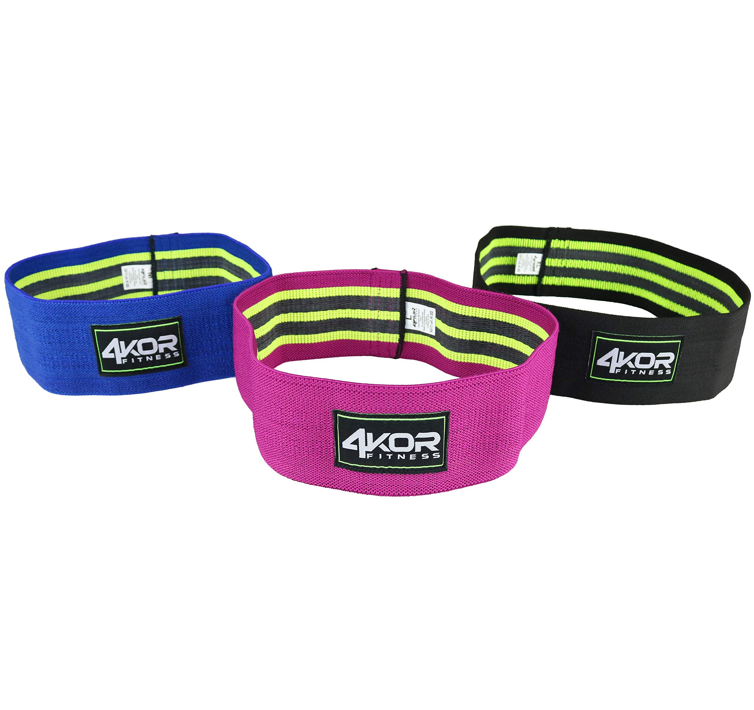 4KOR Fitness Resistance Loop Band Set, Perfect for Crossfit, Yoga, Physical Therapy, and Booty Building (3 Grippy Hip Band Set)