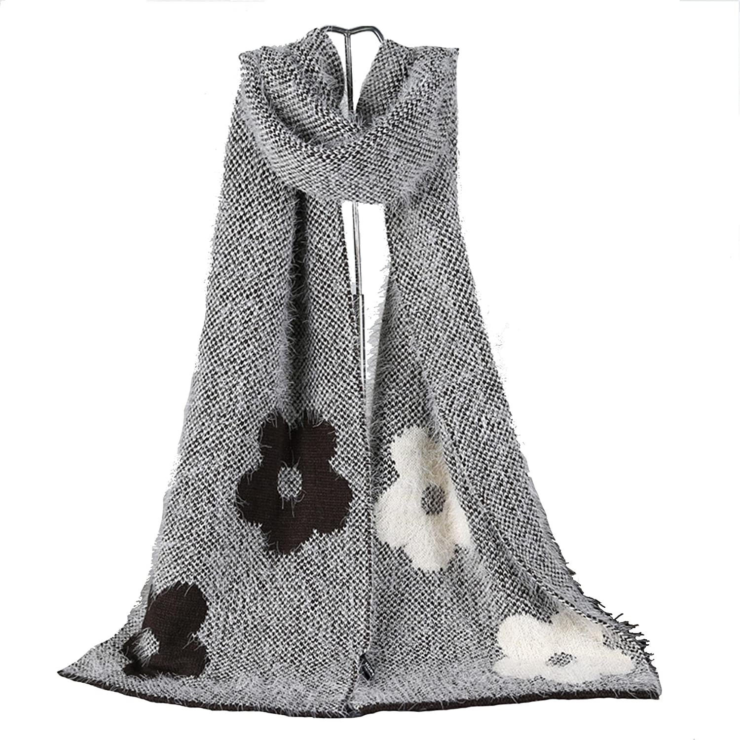 Women Knitted Flowers Print Mohair Scarves