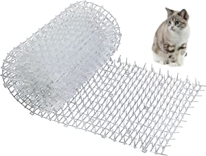 """One Sight Scat Mat with Spikes for Cats Dog Anti-Cats Network Digging Stopper Deterrent Mat for Garden and Fence, White, 98"""" x 11.8"""""""