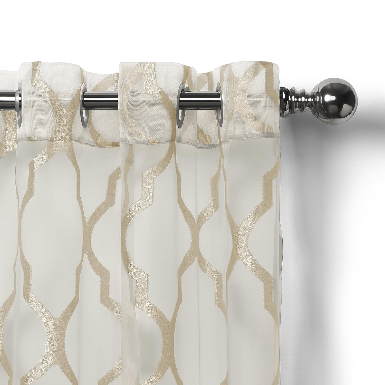Elrene Home Fashions 26865853933 Grommet Sheer Ironwork Jacquard Woven Single Panel Window Curtain Drape 52 x 84 Gray 1
