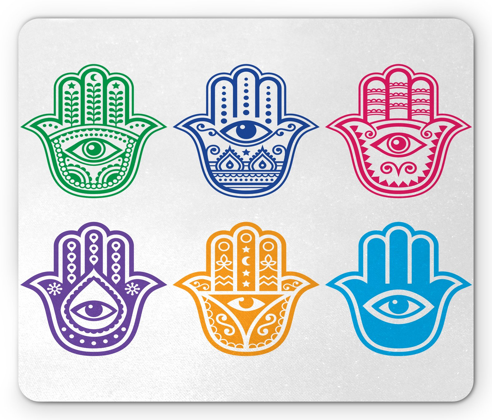 Lunarable Hamsa Mouse Pad, Evil Eye Theme Hamsa Hand of Fatima Pattern African Ethnic Religion Power Sign Print, Standard Size Rectangle Non-Slip Rubber Mousepad, Multicolor by Lunarable (Image #1)