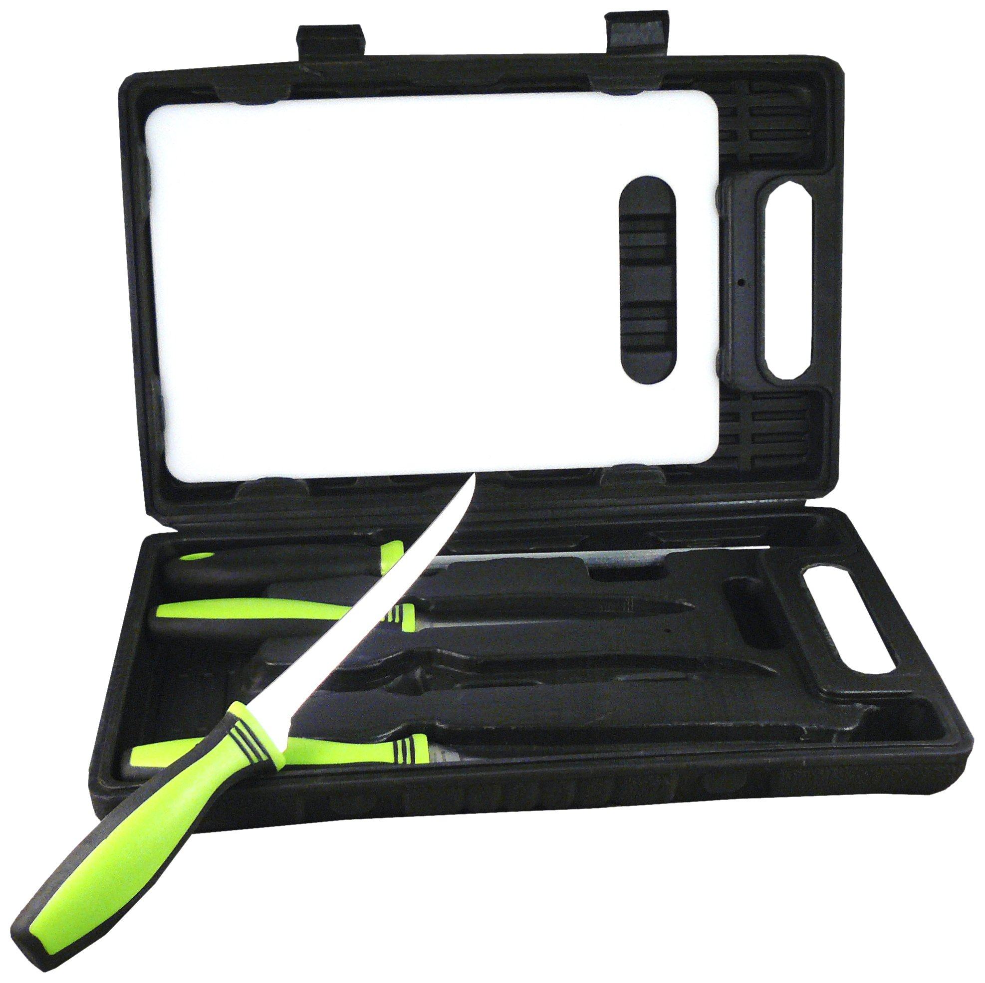 Sarge Knives SK-130 Fishing Kit with 6-Inch and 7-1/2-Inch Fillet knives, 4-3/4-Inch Blade Serrated Knife, Sharpener, Cutting Board and Carrying Case by Sarge Knives