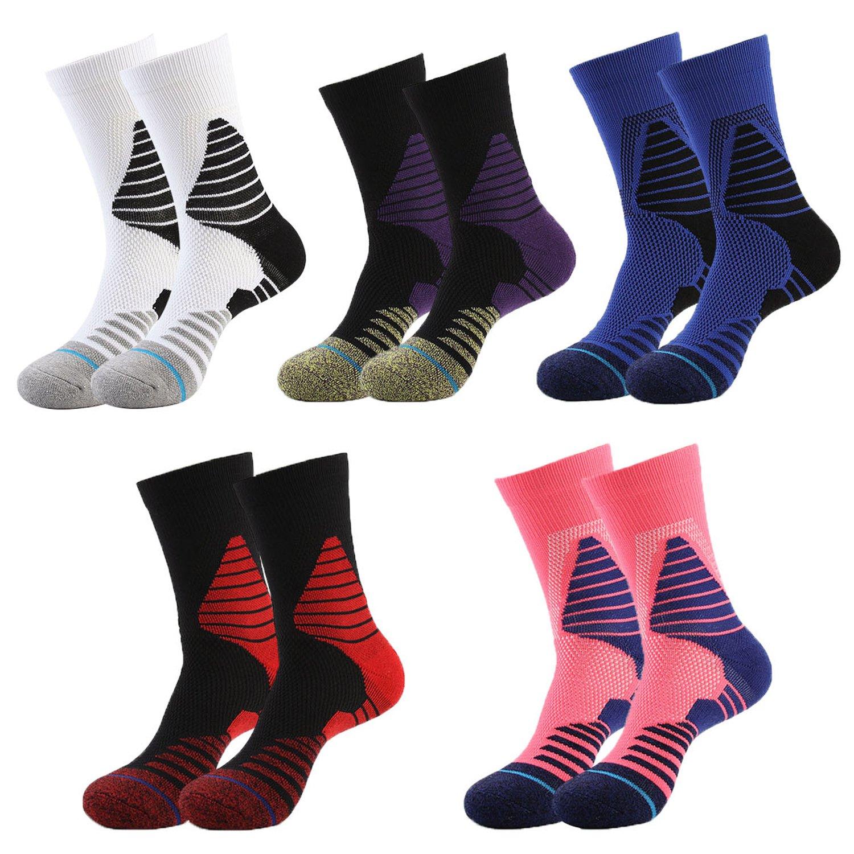 Big Boys Girls Sock Sport Basketball Athletic Outdoor Soccer Cushioned Elite Compression Crew Socks 5 Pack Number Sock TOAT