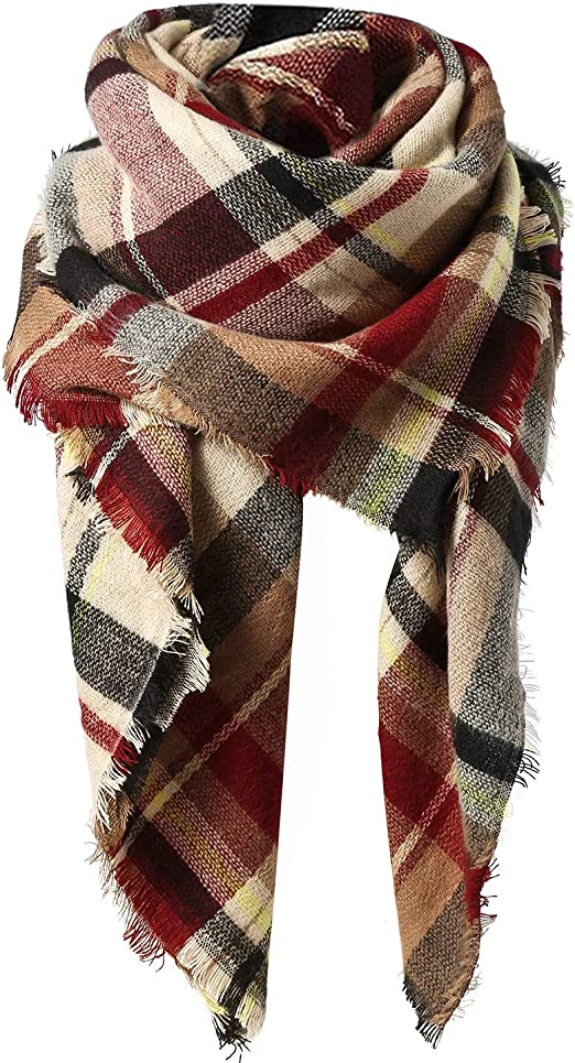 Plaid Classic Cozy Woven Fringe Detail Oversized Wrap Knit Blanket Scarf