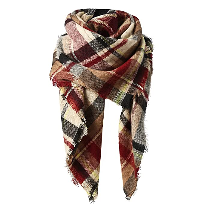 Zando Plaid Blanket Scarf Chunky Blanket Fall Stylish Scarves Women Soft Oversized Scarf Shawl Wrap Warm Cape Tassel Pink Light Red Scarfs