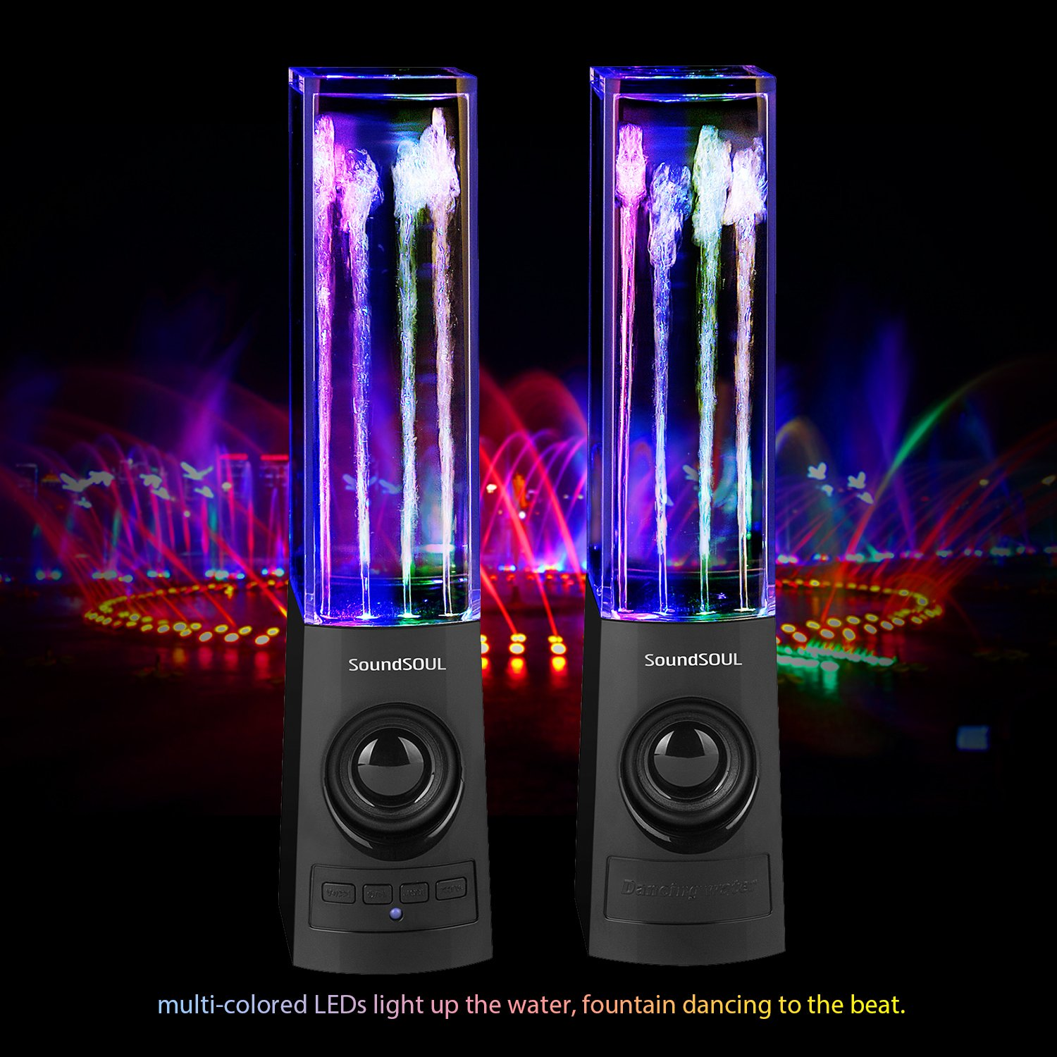Soundsoul Bluetooth Dancing Water Speakers Led How To Build Leds Wireless Fountain Bluetooth40 4 Colored Lights Dual 3w