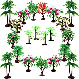 """Upgrade Trees Cake Decorations, OrgMemory Model Trees with Bases, (19pcs, 3""""-5.5""""/7.5-14 cm), Ho Scale Trees, Diorama Supplies for Woodland Scenics or Cake Decorations"""