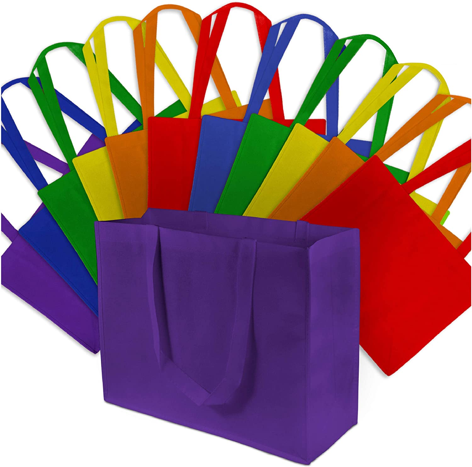 Large Multi-Color Reusable Gift Bags, Shopping Bags with Handles, Grocery Bags, Fabric Tote Bags, Merchandise Bags, Foldable, Strong and Eco Friendly 12 Pcs. 16x6x12""
