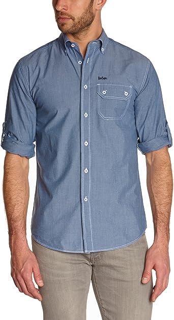 Lee Cooper - Camisa para Hombre, Talla 37/38, Color Azul ...