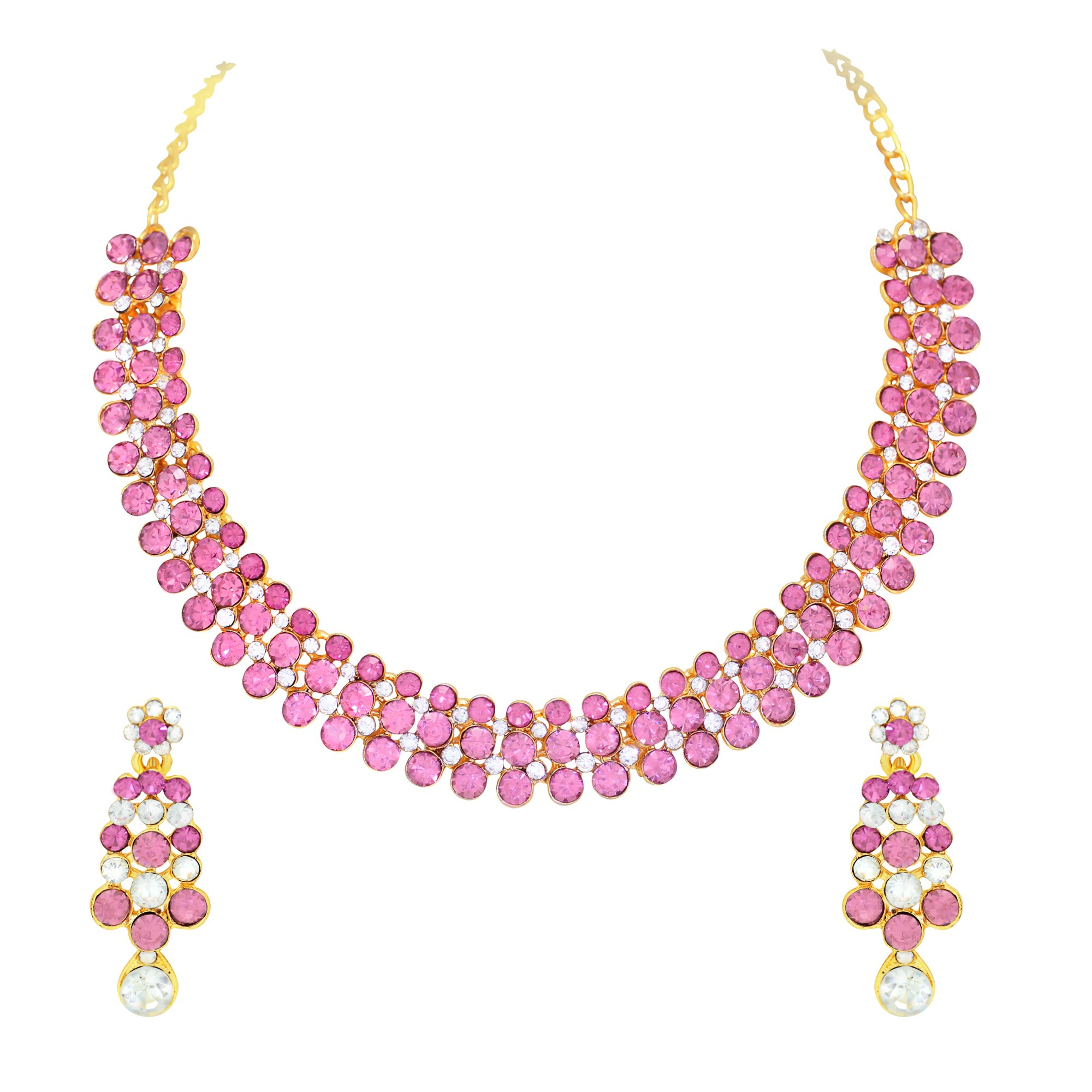 Atasi International Gold Plated Jewellery Set for Women (Pink)(GP1920) product image